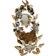 Delicious antique French ormolu green wedding cushion display stand porcelain roses crown