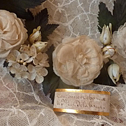 Delicious 19th C. French bride's artificial rose, rosebud and blossom wedding crown