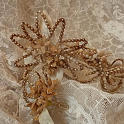 Faded grandeur 19th C. French bride's faux seed pearl and wax wedding crown and corsage