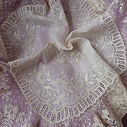 Exquisite 19th C. French lace wedding handkerchief hanky Chateau provenance floral motifs