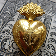 Gleaming antique French ex voto flaming sacred heart box reliquary crown circa 1880