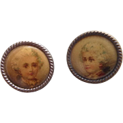 Adorable antique French celluloid buttons depicting young boys 18th century style , circa 1880