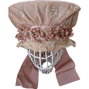 Delicious old French pink wedding bonnet lace  pink millinery flowers  ribbon bow