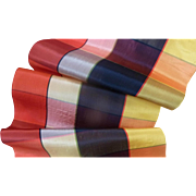 Delicious morceau old French colorful plaid wide silk ribbon  49 inches long 7 3/4 inches wide