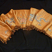 19th C. French faded grandeur old gold silk cantonniere : pelmet  : chinese dragon floral embroidered motifs
