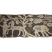 Decorative antique  hand made ecru lace panel Chateau provenance tree of life animals birds personage