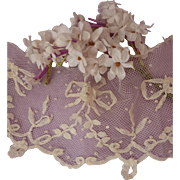 Pretty morceau 19th C. embellished tulle lace band ribbon bow floral and foliage motifs