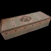 Delicious faded grandeur fabric covered boudoir box rose floral motifs medallion metallic trim