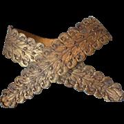 Unusual decorative 19th C. French gilt bronze Empire style drape tie back holders acorns acanthus leaves