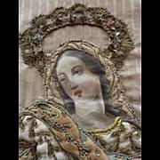 Antique French religious textile panel Assumption Virgin Mary heaven : cherubs : metallic trims