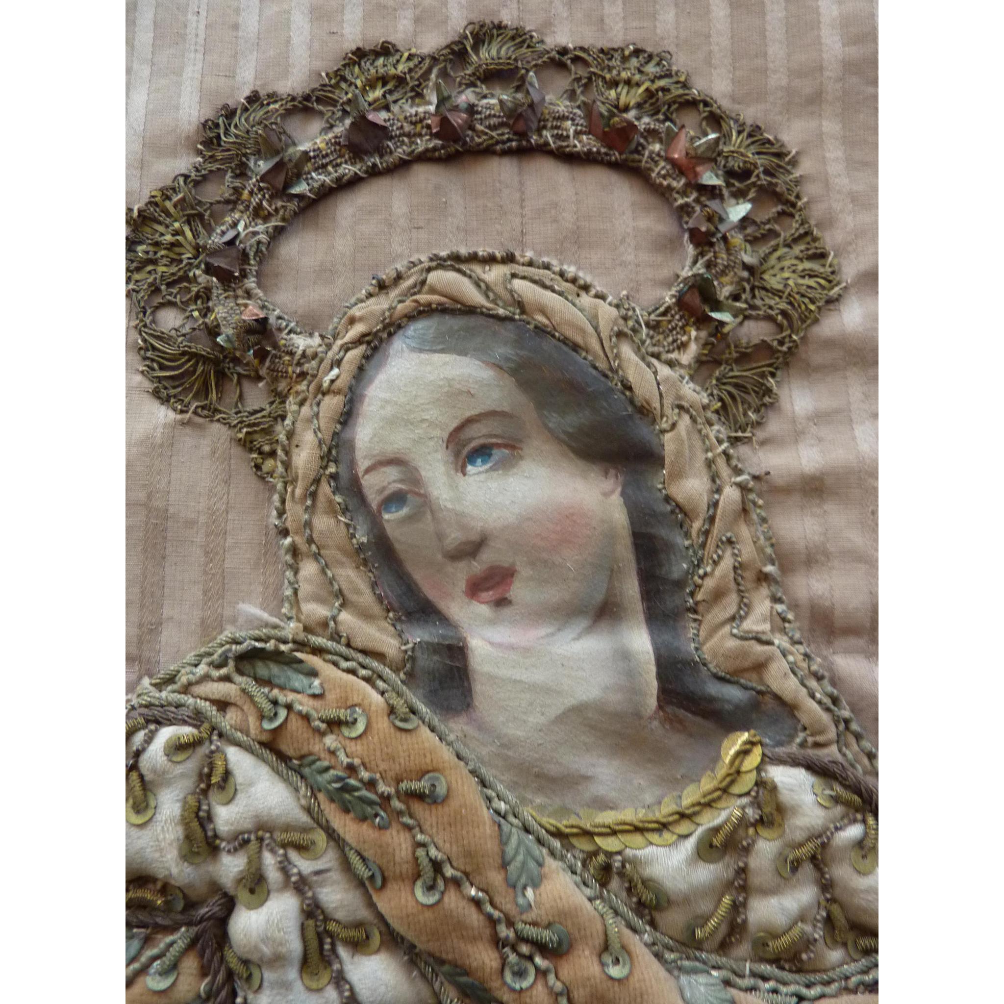 Antique French religious textile panel Assumption Virgin Mary heaven ...