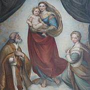 Exquisite 19th century French engraving La Vierge de Dresde dite de St. Sixte: cherubs : Raphael