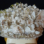 Delicious antique French bride's wedding lace bonnet millinery flowers  silk ribbon