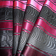 Superb antique French wide silk moire Fuchsia, black , claret , burgundy ribbon   projects  78 inches long