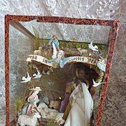 Adorable antique creche or nativity scene wax Jesus Mary Joseph sheep donkey cow angels circa