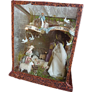 Adorable antique creche or nativity scene wax Jesus Mary Joseph sheep donkey cow angels circa
