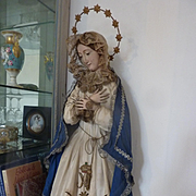 Religious Madonna : Virgin Mary statue doll wood gesso brown eyes original clothing, circa 1850 : 32 1/2 inches high