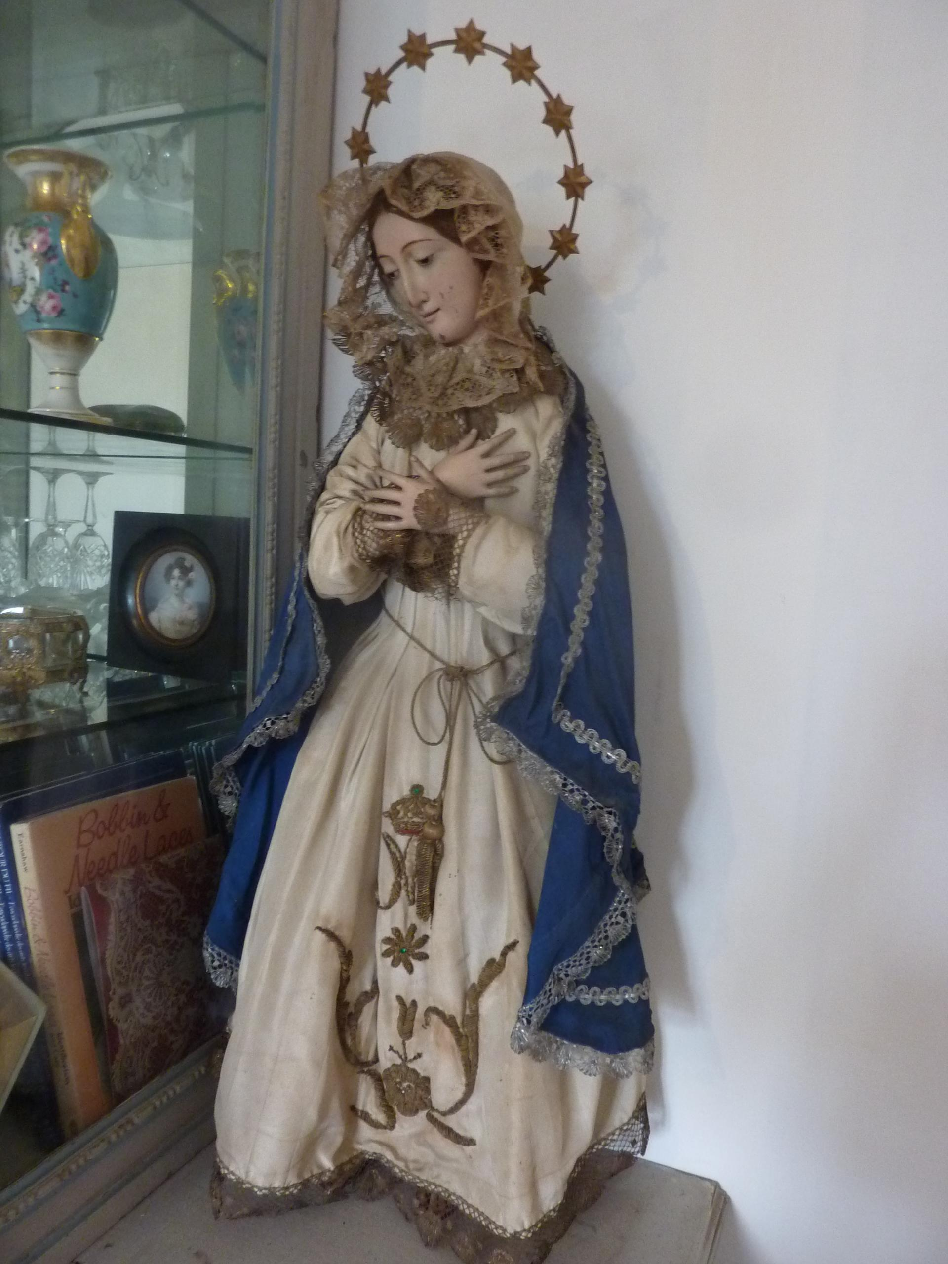 Religious Madonna Virgin Mary Statue Doll Wood Gesso