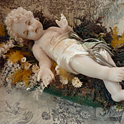 Charming antique French wax baby Jesus doll  Napoleon III period