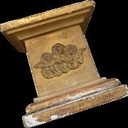 Decorative faded grandeur 19th C. gilded wood gesso presentation stand cherub heart religious motifs