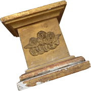 Decorative faded grandeur 19th C. gilded wood gesso presentation stand cherub heart religious motifs