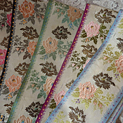 5 delicious French old silk ribbons rose motifs gold metallic flowers short lengths.......doll projects !