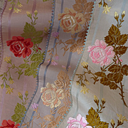 3 delicious French old silk ribbons : rose motifs : doll projects : collection : short lengths