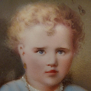 Charming 19th c. framed hand painted portrait young child porcelain plaque with enamelling embellishments