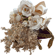 PLEASE DO NOT BUY THIS ITEM IT IS SOLD Delicious antique French bride's artificial flower wedding bouquet : roses : silk ribbon bow