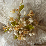 Delicious antique French bride's orange blossom wax wedding crown : tiara