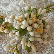 Delicious collection antique French bride's wax wedding pieces  : earrings : doll projects