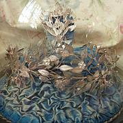 Romantic antique wedding presentation dome bride's white metal crown : tiara and brooch , circa 1900