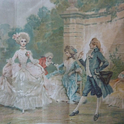 Charming antique signed hand painted  bucolic 18th century scene on silk fan shape