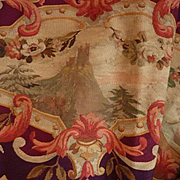 Faded grandeur decorative 19th c French Aubusson tapestry cantonniere :  panel : floral swags : scrolls : vignettes