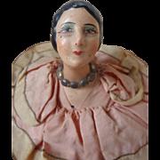 Decorative Faded grandeur pink ribbon doll's head boudoir  cushion 1920's