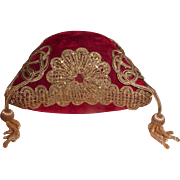 Opulent 19th C. French square wedding display cushion : pillow : gold metallic metallic tassels trim