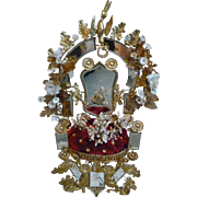 Splendid 19th C. French ormolu boudoir wedding cushion display stand :  porcelain flowers : wax crown