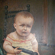 Adorable 19th century French signed oil painting  Baby : young child : girl  : dated 1895