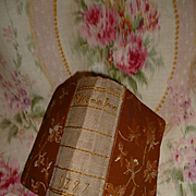 Charming  antique handmade brocade sewing necessaire : book form : dated 1897