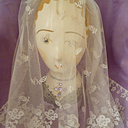 Splendid 19th century tulle lace veil with hand applied floral and foliage motifs