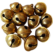 Batch of old unused  French gold colored small metal bells : doll projects
