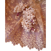 Pretty morceau old French ecru hand embroidered tulle lace  : sewing projects