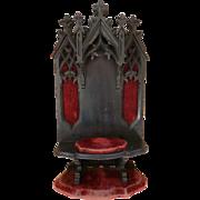 Ornate antique French ebonized Gothic style religious niche or display shelf Napoleon III period