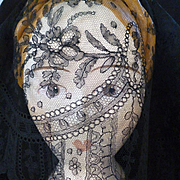Beautiful flounce 19th C. Black Chantilly bobbin lace : floral motifs : scallop edge :  150 inches long : projects