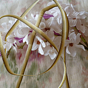 Delicious antique French narrow graduated ribbon : olive green : gold : 10 yards  : circa late 1800's