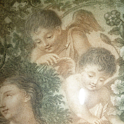 Delicious 19th century French stipple engraving classical scene young girl : cherubs