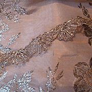 Superb old French silver metallic lace : trim : passementerie: long length  117 inches