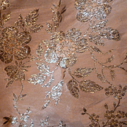 Sumptuous 19th c. French pink silk ribbon silver metallic floral motifs : sewing projects : collection