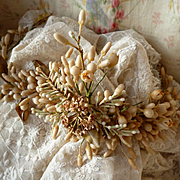 Delicious faded grandeur 19th C. French bride's orange blossom wax wedding crown : tiara