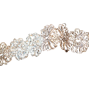 Superb old French silver metallic lace trim : passementerie  3 yards